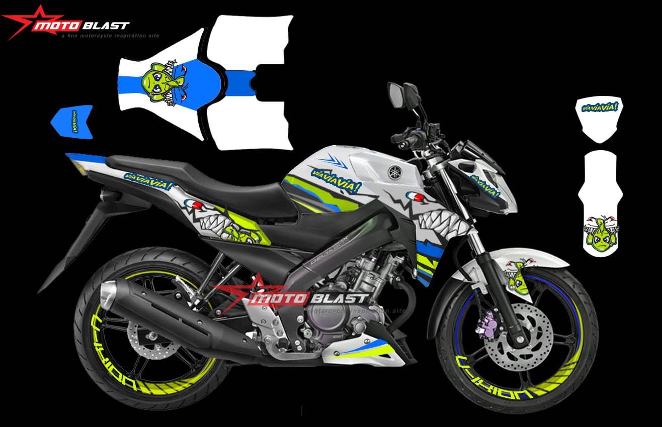 Decal Stiker Yamaha New Vixion Vr46 Shark White Motoblast Id