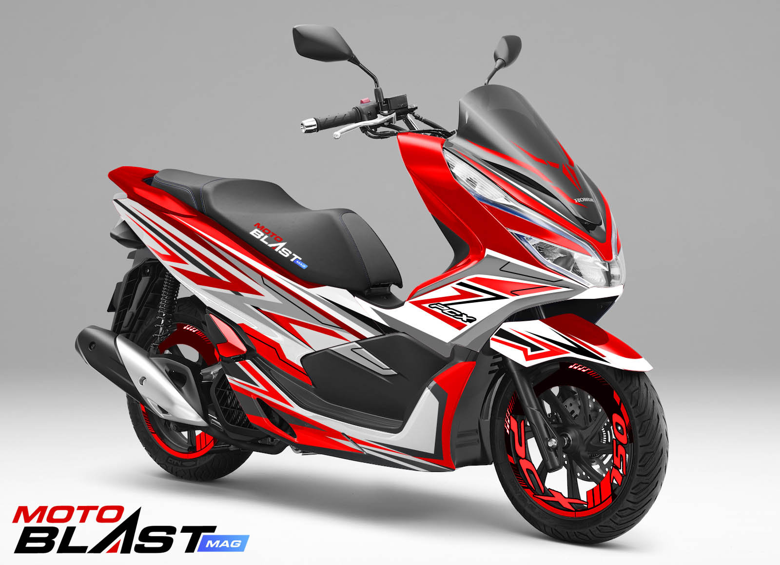 Honda Pcx 150 >> Decal Stiker Honda Pcx 150 Red Shadow
